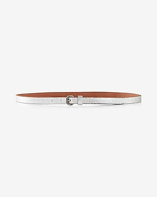 Express Womens Genuine Leather Distressed Silver Belt