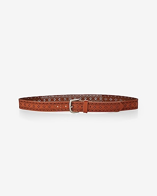 Express Womens Perforated Genuine Leather Belt