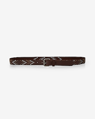 Express Womens Studded Genuine Leather Chevron Belt Brown Women's L Brown L