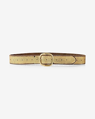 Express Womens Genuine Leather Gold Foil Belt