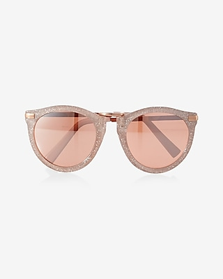 Express Womens Round Glitter Sunglasses