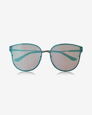 Express Womens Turqouise Cat Eye Sunglasses