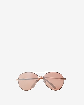 Express Womens Mirrored Gold Metal Frame Aviator Sunglasses