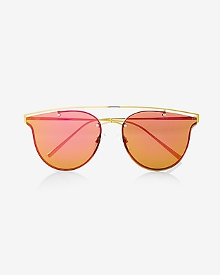 Express Womens Rainbow Lens Brow Bar Sunglasses