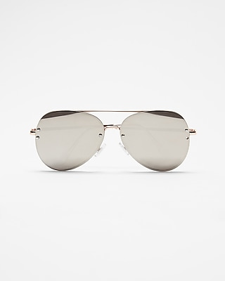 Express Womens Tinted Aviator Sunglasses Silver Women's  Silver