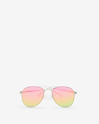 Express Womens Rainbow Aviator Sunglasses