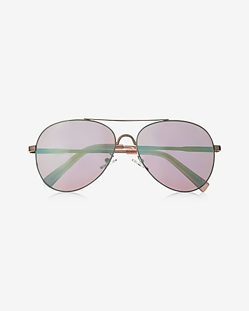 turquoise flash lens aviator sunglasses