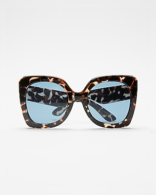 Express Womens Oversized Tortoiseshell Cat Eye Sunglasses