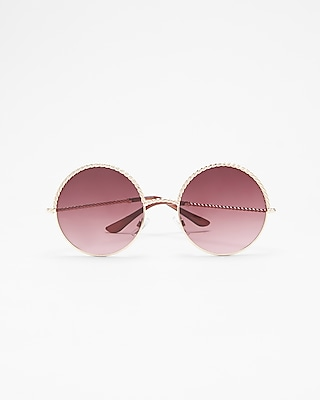 Express Womens Textured Frame Round Lens Sunglasses