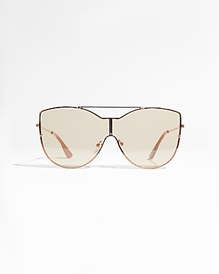 Express Womens Metal Cat Eye Shield Sunglasses