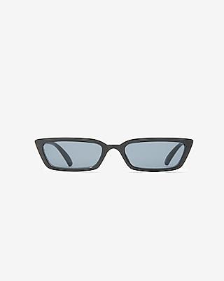 Express Womens Small Square Cat Eye Sunglasses Black Women's  Black
