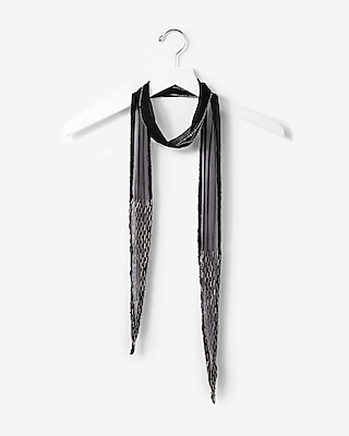 Express Womens Embroidered Beaded Skinny Scarf