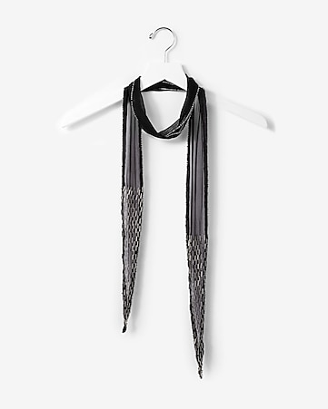 embroidered beaded skinny scarf