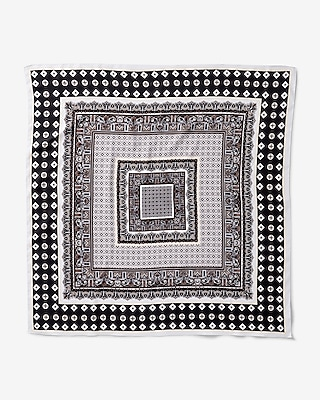Express Womens Black And White Printed Neckerchief