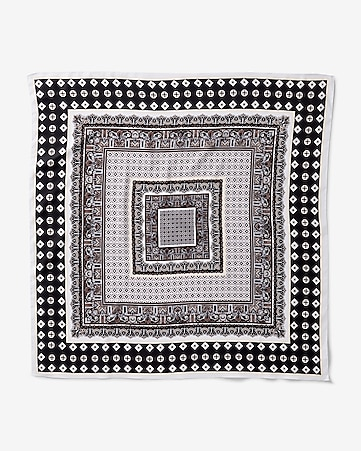 black and white printed neckerchief