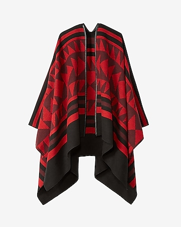 overblown geometric poncho