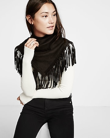 black faux suede fringe trim triangle wrap