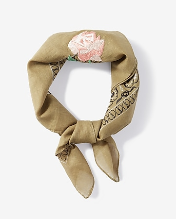 embroidered rose neckerchief