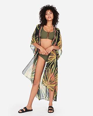 Express Womens Printed Long Swim Kimono Cover-Up