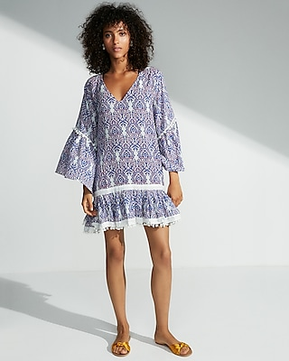 Express Womens Bell Sleeve Tunic Cover-Up