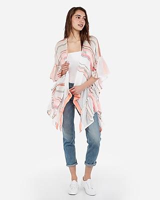 Express Womens Ribbon Striped Ruffle Kimono Swim Cover-Up