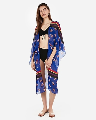 Express Womens Long Tulip Stripe Cover-Up