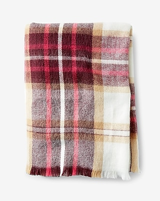 Express Womens Berry And Ivory Plaid Blanket Scarf
