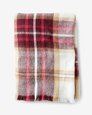 berry and ivory plaid blanket scarf