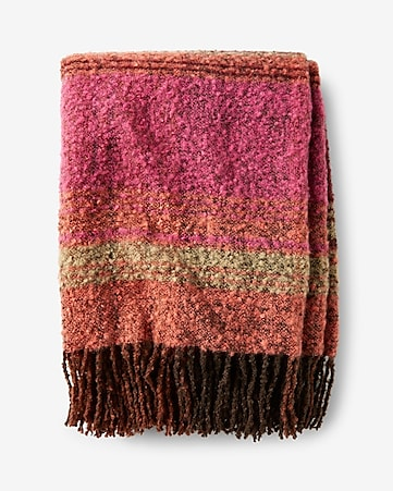 oversized striped fringe scarf