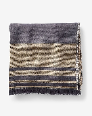 Express Womens Reversible Leopard And Striped Fringe Trim Scarf