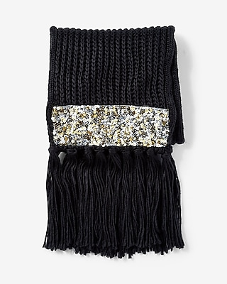 Express Womens Black Sequin Patch Knit Scarf