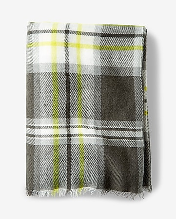 citron plaid blanket scarf