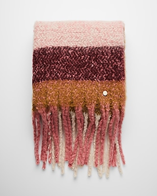 Express Womens Striped Plaid Fringe Blanket Scarf Pink