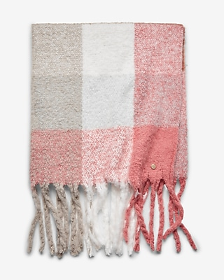 Express Womens Brushed Plaid Fringe Blanket Scarf