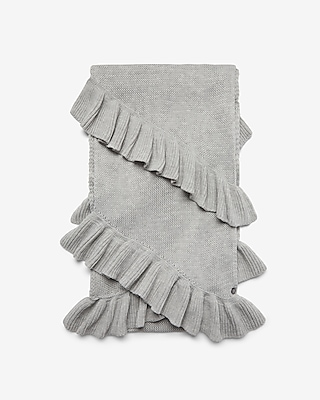 Express Womens Double Ruffle Oblong Scarf