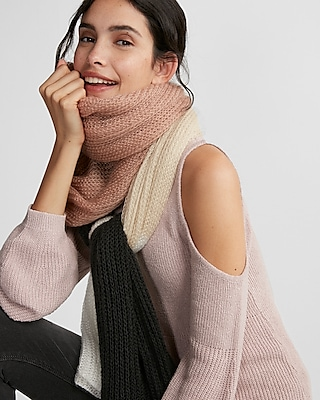 Express Womens Color Block Scarf