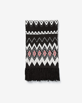 Express Womens Geometric Studded Knit Oblong Scarf