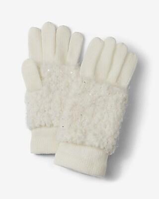Express Womens Ivory Popcorn Knit Gloves