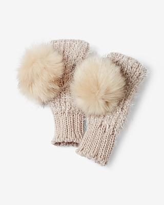 Express Womens Knit Faux Fur Pom Arm Warmer Gloves