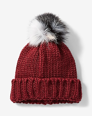 Express Womens Color Block Pom Beanie Pink