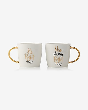 slant mr and mrs right mug set