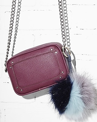 Express Womens Express Womens Ok Originals Color Blocked Faux Fur Pom Keychain And Bag Charm