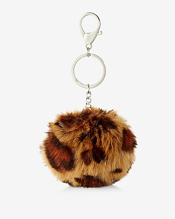 ok originals leopard faux fur pom keychain and bag charm