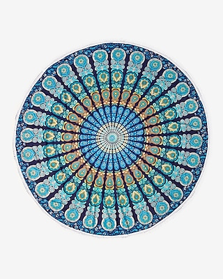 Express Womens Kitsch Round Geometric Beach Blanket