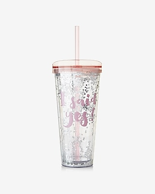 Express Womens Slant Collections I Said Yes Glitter Tumbler