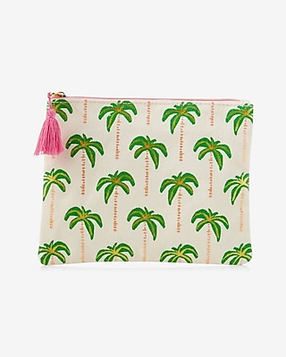 Express Womens Slant Palm Tree Pouch