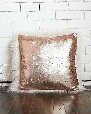 Express Womens Faux Fur And Sequin Reversible Pillow
