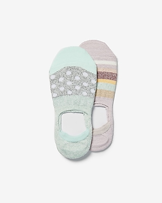 Express Womens 2 Pack Mixed Print No-Show Socks