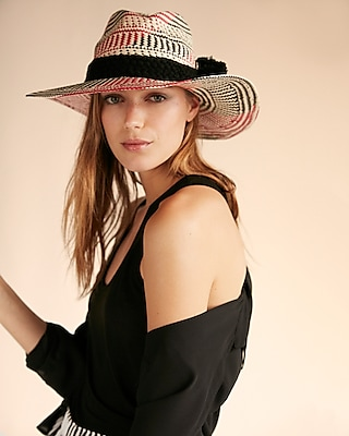Express Womens Multicolor Straw Fedora