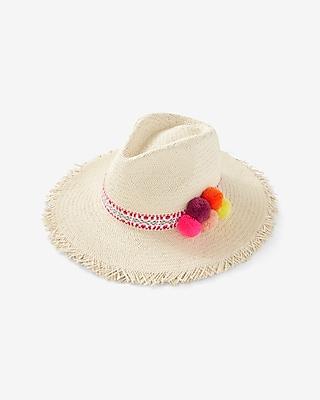 Express Womens Pom Straw Hat Neutral